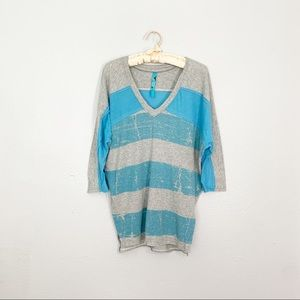 Free People Blue/Grey Striped Dolman Sleeve Jersey